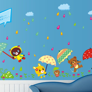New product Cartoon animal housing rain dozen umbrella children in the household adornment wall stick on the wall SM6