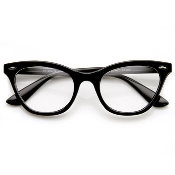 Womens Eyewear Fashion 60s Era Clear Lens Cat Eye Glasses