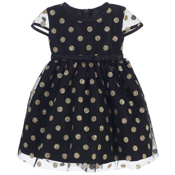 Sweet Kids Baby Girls' Glitter Polka Dot Mesh Dress - Black, SKB650