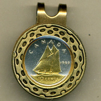 Gorgeous  2-Toned Gold on Silver Canadian Bluenose sail boat - coin  - Golf Ball Marker - Hat Clips