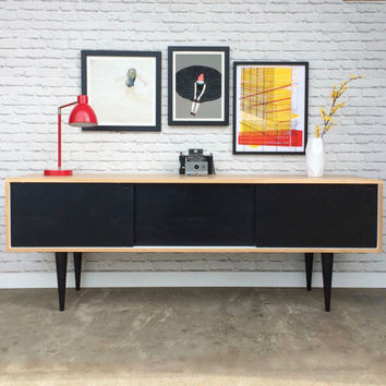 Roosevelt Credenza- Brown Maple/Ebony/White - In Stock!