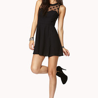 FOREVER 21 Polka Dot Mesh Skater Dress Black Medium