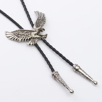 Fashion Indian Necklace Eagle Pendant Necklaces Dance Bolo Tie Western Cowboy Rodeo Leather Belt Necktie For Men And Women