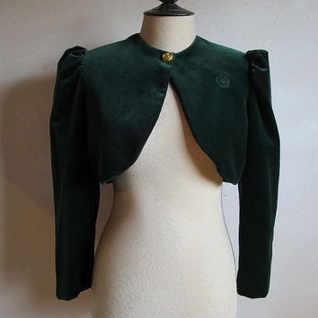 80s Alfred Sung Velvet Bolero Forest Green Cotton 1980s Designer Cropped Short Evening Jacket 16US