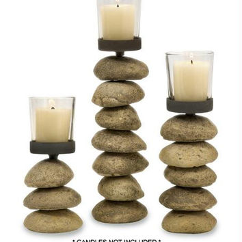 3 Votive Candle Holders - Stones