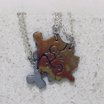 OOAK Set of 3 friendship necklaces Multi color metallics polymer clay