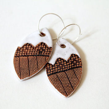 Made to Order: Handmade Tribal Lace Print Earrings in White