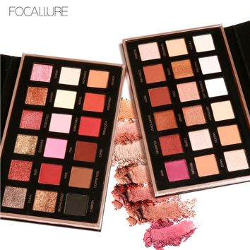 Eyes Shadow Color Waterproof Shimmer Powder Pigment Warm Metallic 18 Focallure Eyeshadow Makeup Palette