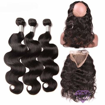 Brazilian Body Wave Hair Extensions 3 Bundles With 360 Lace Frontal Closure