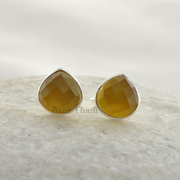Beautiful Yellow Chalcedony 9mm Heart Faceted 925 Sterling Silver Stud Earring - #2443