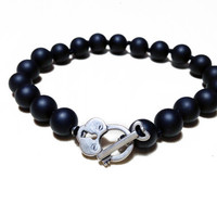 Black Onyx Bead Bracelet // Individually Knotted Bracelet with Sterling Heart Lock and Key Clasp, Unique Jewelry Gift for Her under 50