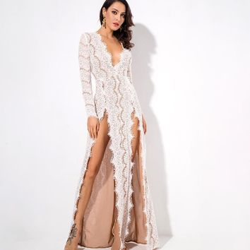 Iona- White Deep V Collar Cut Out Lace Long Sleeve Maxi Dress