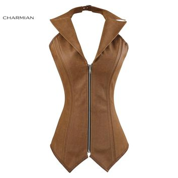 Charmian Women's Plus Size Steampunk Corset Gothic Steel Boned Overbust Corset Halter Faux Leather Vest Zip Top Rock Corselet