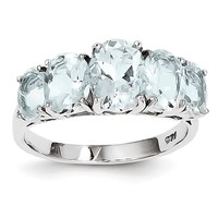 Sterling Silver 5 Stone Oval Genuine Aquamarine Ring