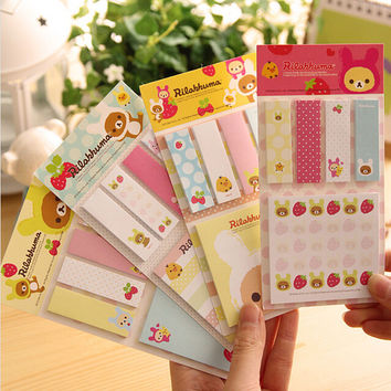 1 x cartoon rilakkuma memo pad kawaii paper sticker sticky notes post it kawaii stationery papelaira