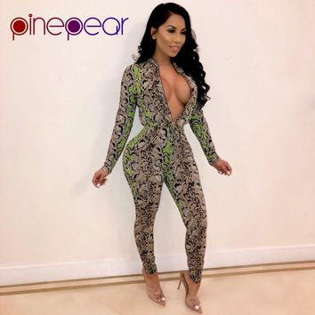 PinePear Snake Skin Print Jumpsuit 2019 Winter Long Sleeve Front Zipper Tie Waist Romper Ladies One Piece Overall Dropshipping