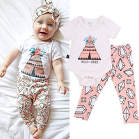 Newborn Infant Baby Girl Bodysuit Floral Pants Casual 2pcs Clothing Jumpsuit Outfits Sunsuit Clothes Summer