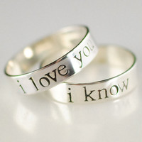 Star Wars Rings- Han & Leia -Pair of Solid Sterling Silver His and Hers Wedding Bands in your choice of font