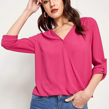 Roll Tab Sleeve Wrap Blouse