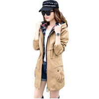 2017 New Women Spring Autumn Jacket Large Sizes Outerwear Parka Women 's Coats Cotton Hoodies Jacket  B044