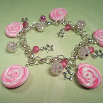 Pinkberry Candy Swirls Kawaii Charm Bracelet by Lucifurious