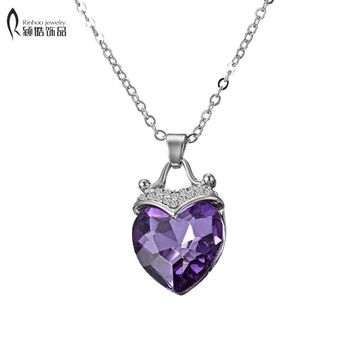 Eternal heart Purple Heart Necklace Small crystal Cristal Heart Shaped Pendant Female Silver Plated Neclace for Women jewelry