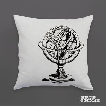 Celestial Throw Pillow | Screen Printed Armillary Sphere Couch Pillowcase