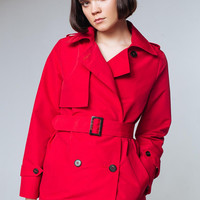 Red Trench Coat Red Outwear Red Trenchcoats Red Trench Coats Women Ladies Trench Coats