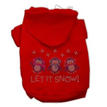 Let it Snow Penguins Rhinestone Dog Hoodie - Red