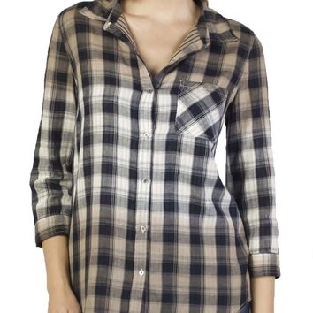 Dear John Averie Dip Dye Double Face Clay Plaid Shirt
