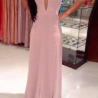 Pink Backless Maxi Dress