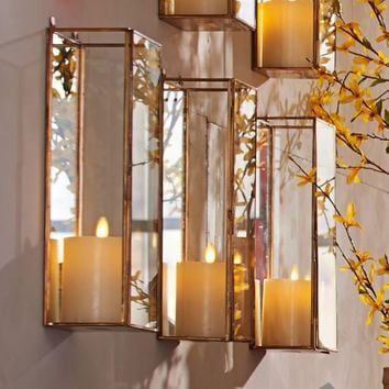 Meredith Mirrored Wall Mount Pillar Candle Box