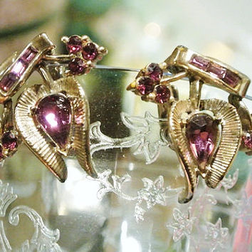 Adolph Katz Coro Earrings Rhinestone Clip On Valencia  1950s Mid Century Earrings  Amethyst Chatons Pears Baguettes Designer Signed Jewelry