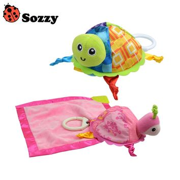 1pcs Sozzy Baby Rattle Toys Sozzy Little Turtle Plush Toys Infant Appease Towels Doll Baby Toys