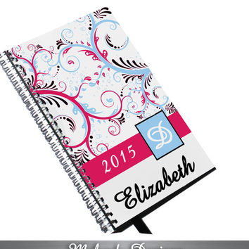 2015 Berry Pink and Sky Blue Swirl Paisley Personalized Planner, Monogrammed To Do List Spiral Bound Calendar Book