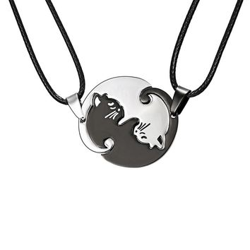 1 Pair Necklace Chain Pendant Kitty Cat Embrace Jewelry For Women Men Couple Lovers @M23