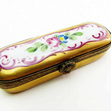 Limoges Gold Etui Pink Roses Flowers Needle Case Vintage French Porcelain Sewing Case Peint Main Signed CMC Decorative Limousin Porcelain
