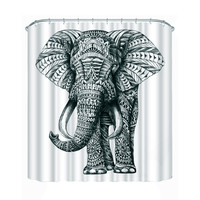 Two Size 3D Elephant Shower Curtain Bathroom Waterproof Fabric Curtain For Bathroom