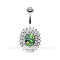 Green Radiant Opal Sparkle Gold Belly Button Ring 14ga Navel Ring Body Jewelry Surgical Steel