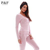 Sexy Deep V Neck 2 pieces Bodycon Jumpsuit 2016 Autumn Winter Rompers Jumpsuit Knitting pink Bodysuits Long bandage Jumpsuits