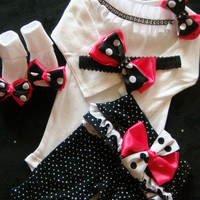 NEWBORN baby girl take home outfit complete shirt pants socks headband hot pink black white polka dot