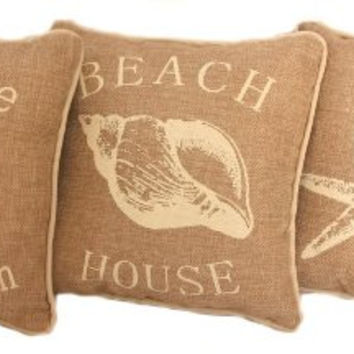 Beach House Faux Burlap Accent Pillow Set of 3 - 10-in x 10-in