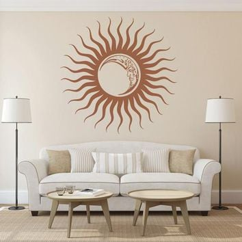 ik1562 Wall Decal Sticker sun moon day night sky rays living room bedroom room