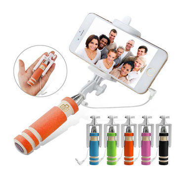 Mini Selfie Stick Extendable Supreme Mini All in One Wire Selfie Stick for iPhone 6, iPhone 5S, Samsung Galaxy S6 S5, Android and IOS System