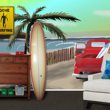 Wall Mural Decal Sticker Surfing Beach with Truck #MM122