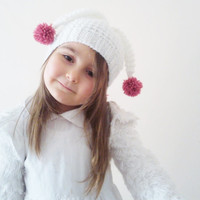 Jester Hat / White Fun Hat / Festival Hat / Soft Kids Hat / Pom Pom Hat / Easter Gifts