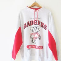 Vintage 1990s Wisconsin Badgers University of Wisconsin Drawstring Pullover Sweatshirt Sz XL