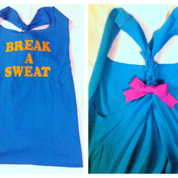 Break a Sweat Workout Tank Top by RufflesWithLove on Etsy