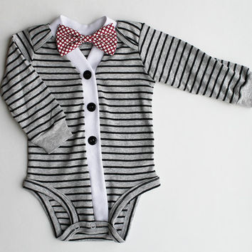 Baby Boy Cardigan, Baby Cardigan and Bow Tie Set, Gray & Black Striped Cardigan, Baby Bodysuit, Cardigan Bow Tie, Baby Sweater, Baby Outfit