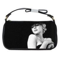 Marilyn Monroe In Black Dress And Hat Handbag Shoulder Bag Black Leather
